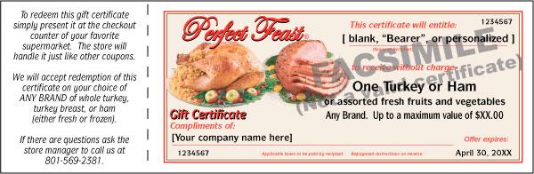 Perfect Feast Gift Certificate Turkey Ham