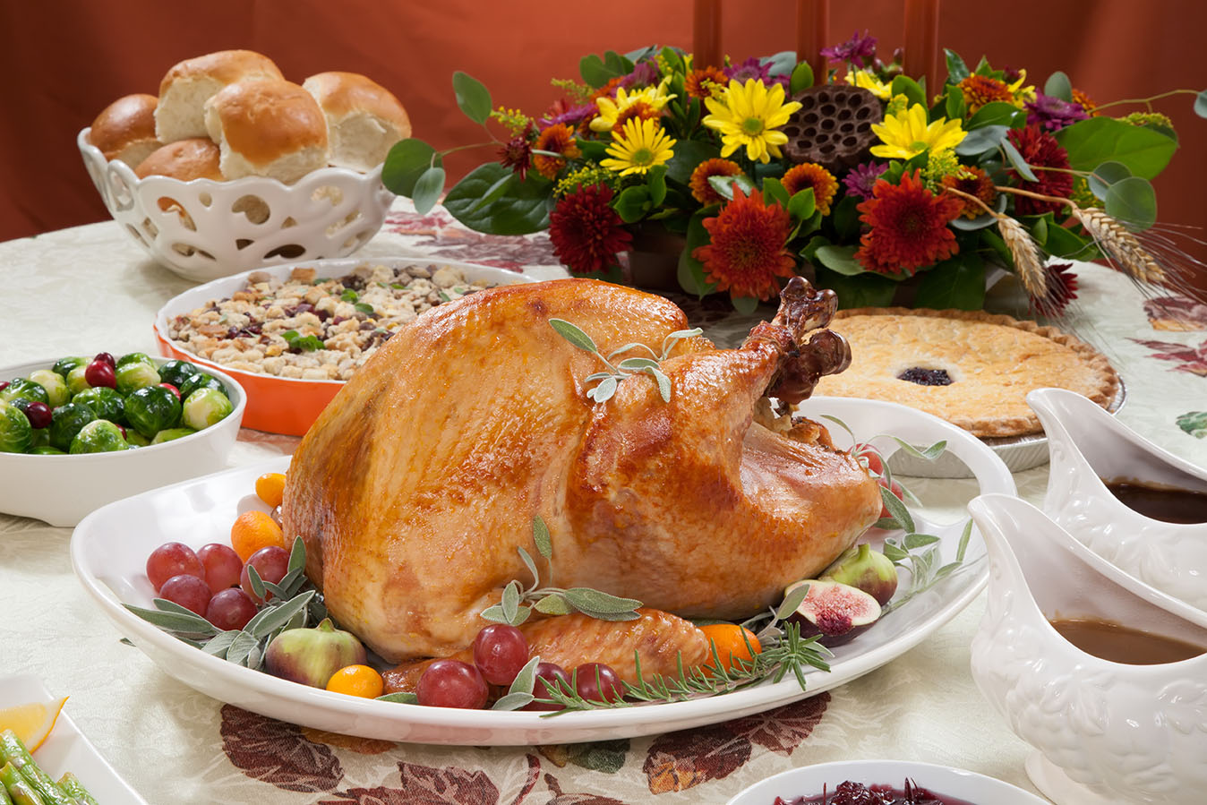 thanksgiving turkey on table with sides