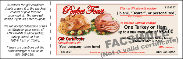 Turkey, Ham, or Combination Gift Certificate